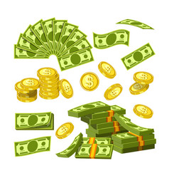 paper money and gold coins in big amounts vector image vector image