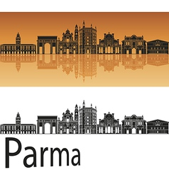 Parma skyline in orange background vector image vector image