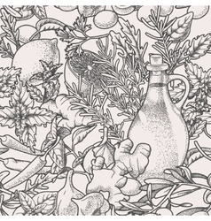 Seamless herbs vector image vector image