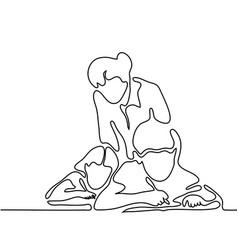 Teacher with children writting in sheet vector