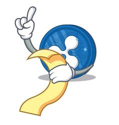 With menu ripple coin character cartoon vector