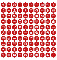 100 traffic icons hexagon red vector