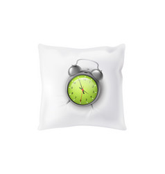 3d realistic alarm clock on pillow vector image
