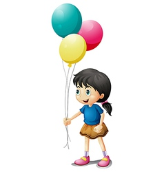 A cute litte girl holding balloons vector