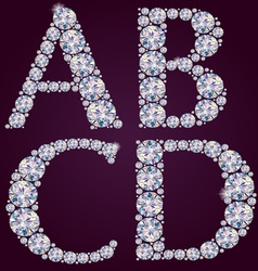 Alphabet of diamonds ABCD vector