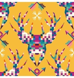 Animal head deer triangular pixel icon vector image