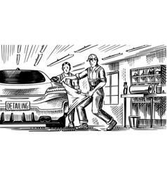Auto service or automobile center repair garage vector