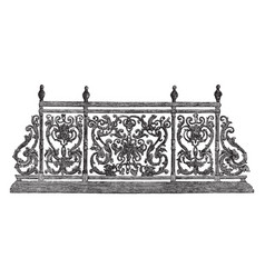 Balcony outside vintage engraving vector