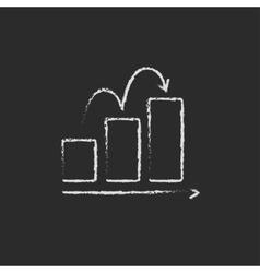 Bar chart upward icon drawn in chalk vector