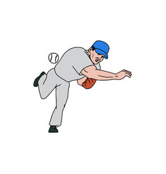 baseball player pitcher throw ball cartoon vector image