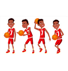 Basketball player child set different vector