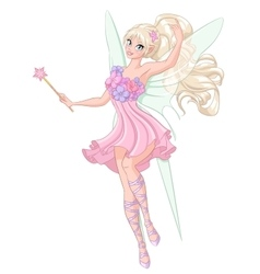 Beautiful fairy with magic wand vector image