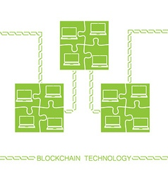 blockchain laptop bitcon vector image