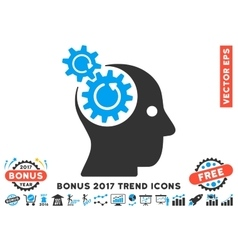 Brain Gears Rotation Flat Icon With 2017 Bonus vector