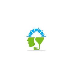 Brain head idea logo vector