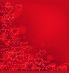 Bright red background with red transparent hearts vector