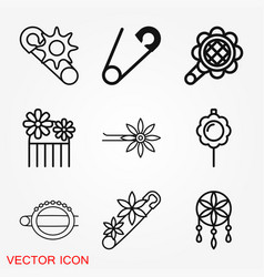 Brooch icon flat design isolated vector