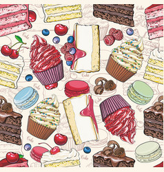 cakes and cookies seamless pattern in sketch style vector image