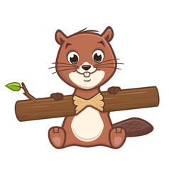 cartoon cute beaver vector image