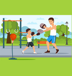 cartoon father in boxer shorts on playground vector image