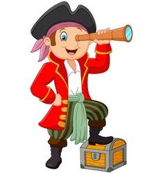 Cartoon pirate looking through binoculars vector