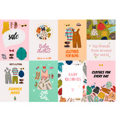 Children fashion cards vector