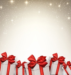 Christmas starry background with gift boxes vector