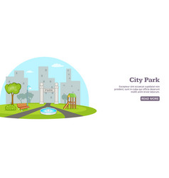 City park banner horizontal man cartoon style vector