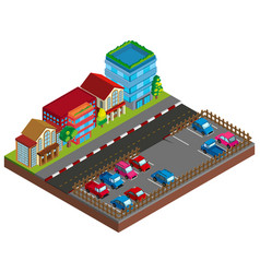city scene with buildings and carpark in 3d design vector image