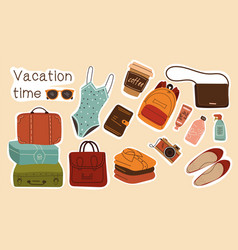 collection colorful vacation stickers or labels vector image