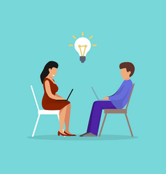creative idea concept two peoplw sitting with vector image
