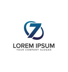 creative modern number 7 logo design concept vector image