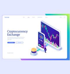 cryptocurrency exchange market isometric landing vector image