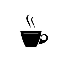 cup of tea black icon sign on isolated vector image