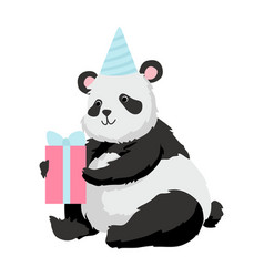 Cute panda bear wearing party hat sitting with vector
