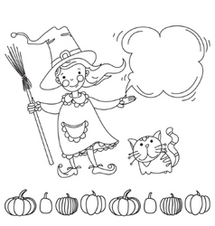 Cute witch Banner for your design vector image