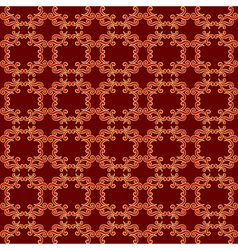 Dark red pattern with golden curved elements vector