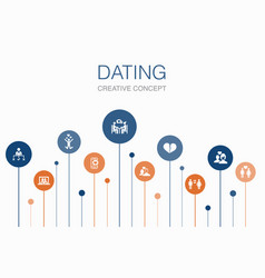 Dating infographic 10 steps template couple in vector