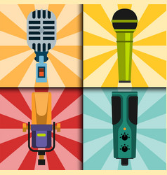 Different microphones types cards journalist vector