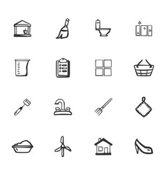 Doodle cleaning company icons set vector