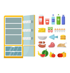 Empty refrigerator and different food flat vector