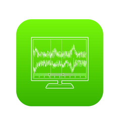 Equalizer monitor icon green vector
