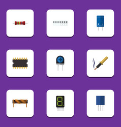 Flat icon device set of display bobbin vector