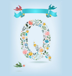floral letter q with blue ribbon and three doves vector image