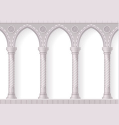 four antique white columns realistic composition vector image