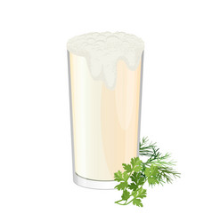 glass of ayran with dill and parsley herbs vector image