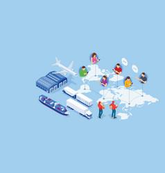 Global logistics network isometric logistics vector