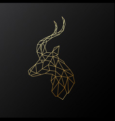 golden polygonal antelope isolated vector image