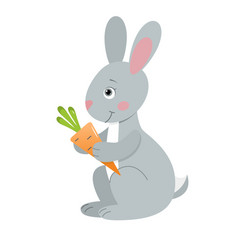 Gray hare with carrot vector