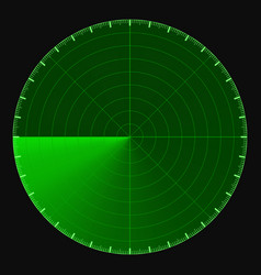 Green radar screen circular 360 degree scale vector